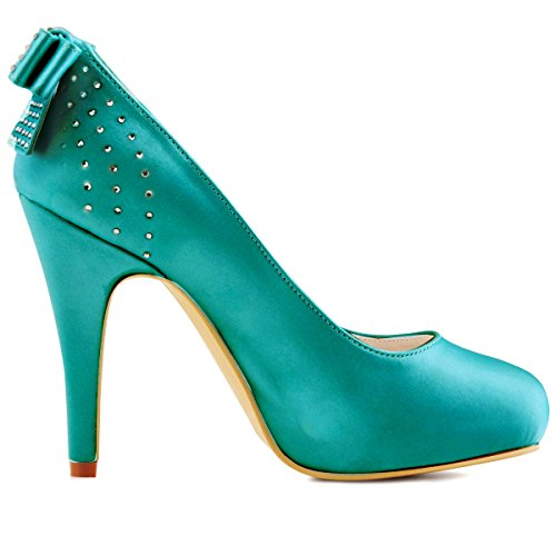 ElegantPark EP11034-IP Women Closed toe High Heels Satin Bow Knot Rhinestones Platform Wedding Party Court Shoes Teal Tumg2l