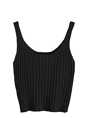 (SweatyRocks Women's Ribbed Knit Crop Tank Top Spaghetti Strap Camisole Vest Tops (Small, Black#))