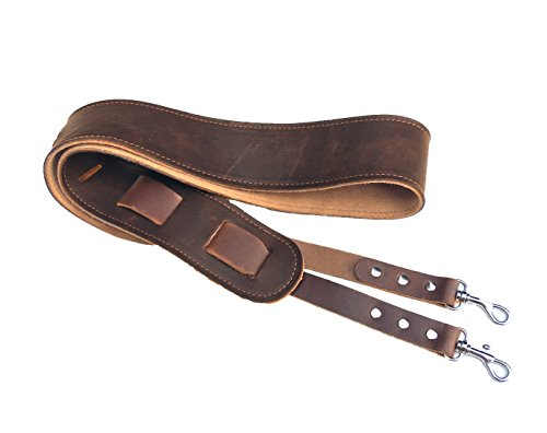 Leather Banjo Strap. Easy to Attach Banjo Strap with Clips. Twin Saints Leather. Made in the USA.