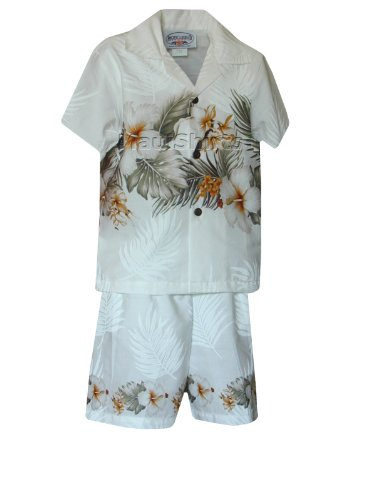 Pacific Legend Boys Tropical Garden 2pc Set White 2T for 2yrs old