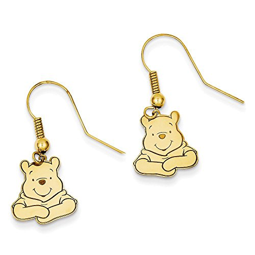Sterling Silver Gold-Plate Disney Winnie The Pooh Dangle Wire Earrings 30x12 mm