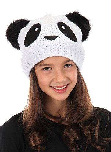 elope Panda Knit Beanie with Pom Ears