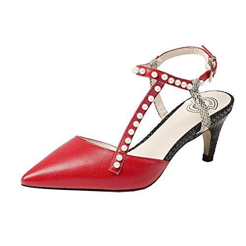 Enmayer Womens Slingbacks Puntschoen Enkel Schoenen Dames Pumps Voor Partyt Stiletto Sandalen Schoenen Rood