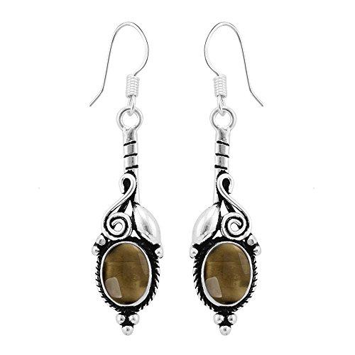 3.70ctw, Genuine Cabochon Smoky Quartz & 925 Silver Plated Dangle Earrings (Cabochon Smoky Earrings)
