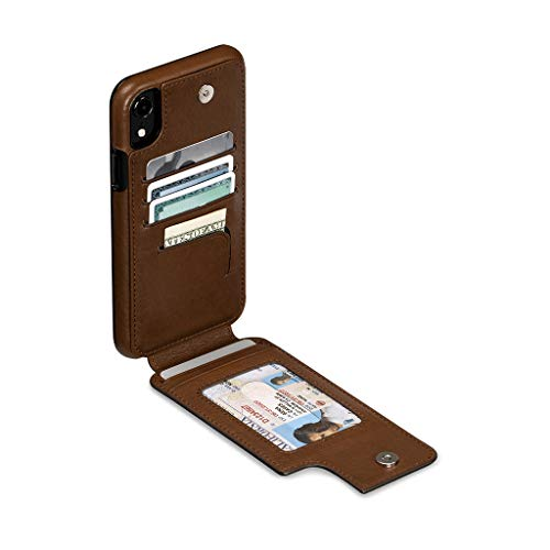 - Wallet Skin Leather Cell Phone Case for iPhone XR - Wireless Charging Compatible - Saddle