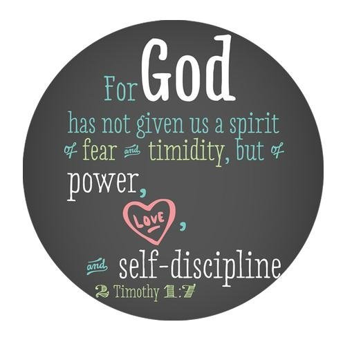 Free Design Cloth Cover Round Mouse Pad 7.87x7.87 Inches-Bible Verse Style For God has not given us a spirit of fear and timidity,but of power