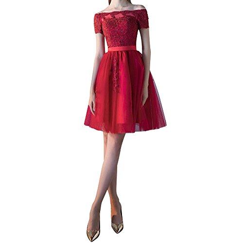 La Rot Dunkel Rock Kurzarm Kurz Mini Linie Ballkleider mia Braut A Festlichkleider Tuell Abendkleider Partykleider Spitze aqwraCZ