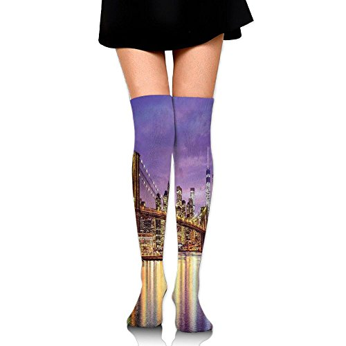 Hizhogqul NYC Exquisite Skyline Manhattan Broadway Old Neighborhood Tourist Country Print Women's Fashion Over The Knee High Socks (60cm)