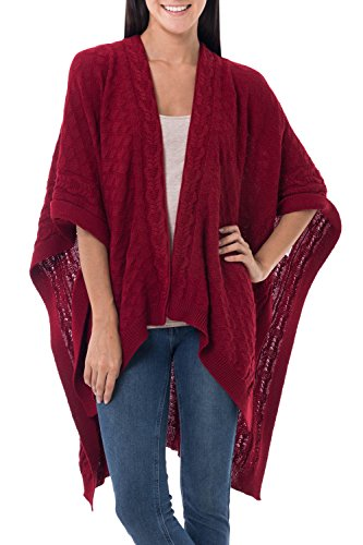 NOVICA Red 100% Alpaca Ruana Cloak, 'Scarlet Chic'