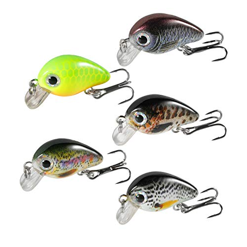 (Magreel Mini Crankbaits Set Lifelike Fishing Hard Lures Kit for Trout Bass Perch Pack of 5 with Tackle Box)