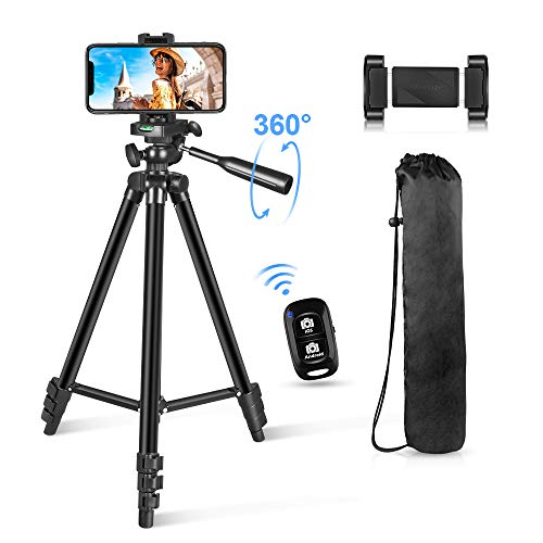 "Phone Tripod 54"" Lightweight iPhone Tripod Stand for Camera iPhone Samsung and Most Phones with Carrying Bag Universal Phone Mount Wireless Bluetooth Remote Control"