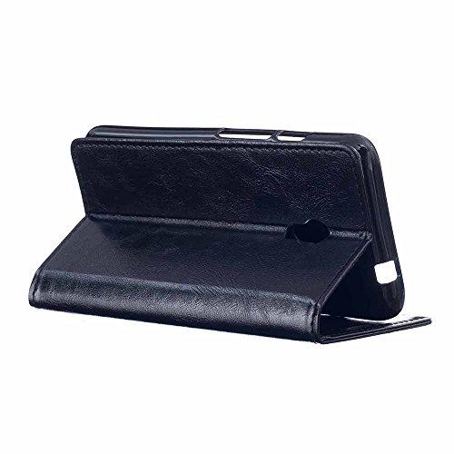 Lusee PU Caso de cuero sintético Funda para Alcatel OneTouch Pixi 4 5.0 4G OT-5045X 5045D Cubierta con funda de silicona botón caballo Loco patrón negro