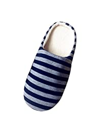 Norbi Unisex Home Indoor Washable Comfort Stripe Anti-slip Slippers Shoes