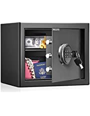 WASJOYE Security Safe Cash Box with Double Digital Keypad Safety Key Lock for Home Business Office Hotel Money Document Jewelry Passport Cabinet