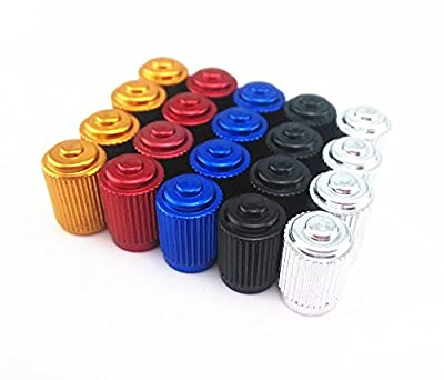 yueton 20pcs Colorful Aluminum Bicycle Bike Tire American Style Schrader Valve Caps Dust Covers