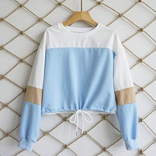 Sweatshirt Donne Bende e Cime Patchwork OUFour Jumper Blu Corto Collo Felpe Tops a Casual Autunno Primavera Bluse Rotondo Cielo Lunga Maglie Manica Pullover con Maglione qZqwxpOt5