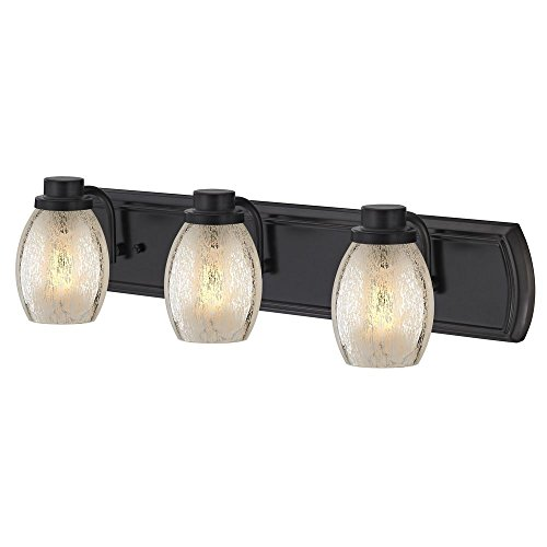 Industrial Mercury Glass 3-Light Bath Vanity Light in Bronze ()