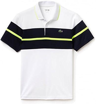 Lacoste – Corta para Ribbed Collar Hombre Tenis Polo (Blanco/Azul ...