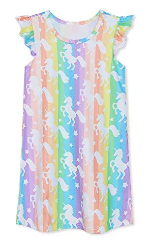 uideazone Kids Girls Rainbow Unicorn Princess Nightgown Dresses Night Gown Pajamas Sleepwear Pyjamas Dress for Summer Casual ()