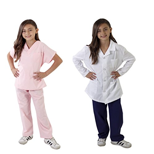 Natural Uniforms Childrens Scrub Set and Labcoat Combo-Soft Touch (Pink, 12/14) ()