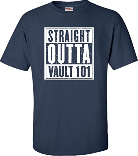 Blue Vault Navy (Go All Out Screenprinting XXXX-Large Navy Blue Adult Straight Outta Vault 101 T-Shirt)