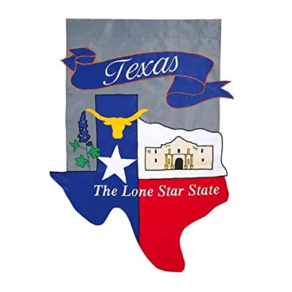 aa2c69509ed1 Amazon.com   Evergreen Texas Lone Star State Applique Garden Flag ...