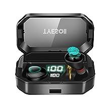 【2019進化版 6000mAh超大容量 Bluetooth5.0+EDR搭載 380時間連続駆動】 Bluetooth イヤホン ワイヤレスイヤホン IPX7完全防水 自動ペアリング 電池残量インジケーター付き ボリューム調節可能 通話マイク内蔵 完全ワイヤレス イヤホン HiFi高音質 ノイズキャンセリング 左右分離型 片耳&両耳とも対応 二台接続可能 タッチ式 ブルートゥース イヤホン AAC対応 Siri対応 iPhone/iPad/Android適用 (G03-ブラック)