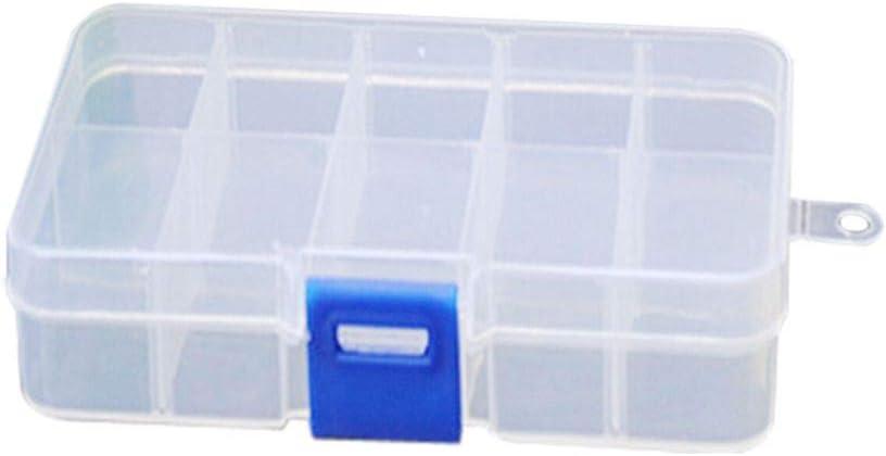 lorjoy De plástico de 10 joyería de Las Ranuras Ajustable Caso Craft Caja de Almacenamiento