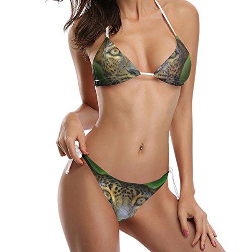 COOSUN Wild Cat Leopard-Bikini-Badeanzug Tie Side Gepolsterte Bikini-Badebekleidung zwei Stücke Badeanzug M Mehrfarbig LYocsE