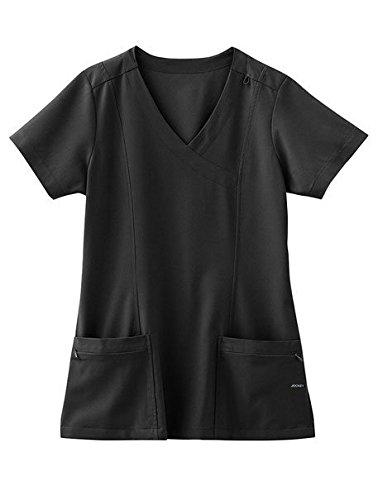 Tops Scrub Jockey - Jockey Women's Scrubs Mock Wrap Scrub Top, Black, M