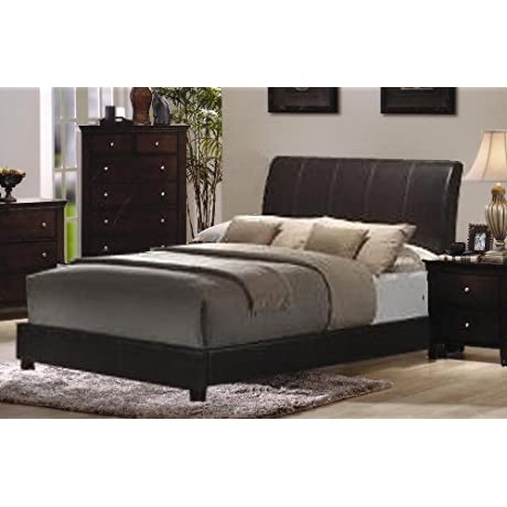 Roundhill Furniture Le Charmel Low Profile Bonded Leather Bed King Dark Brown Finish