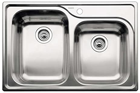 Supreme Drop In Stainless Steel 33x22x10 1 Hole Double Bowl Kitchen Sink