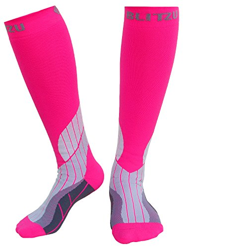 BLITZU Compression Socks 15-20mmHg for Men & Women BEST Recovery Performance Stockings for Running, Medical, Athletic, Edema, Diabetic, Varicose Veins, Travel, Pregnancy, Relief Shin Splint S/M Pink by BLITZU (Image #1)