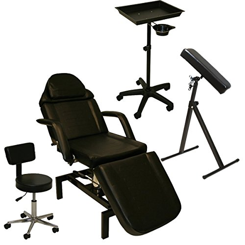 InkBed Tattoo Package Hydraulic Table Chair Arm Leg Rest Bar Bed All Purpose Tray Studio Salon Spa Equipment