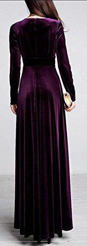 Purple amp;W Winter Swing M Gown Neck Dress amp;S Velvet Cocktail V Women's HxF6w