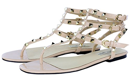(Royou Yiuoer Women's Leather Studded Sandals T-Strap Flats Sandals Beige 10 B(M))