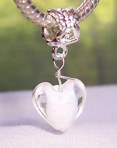Heart White Clear Murano Glass Dangle Charm for European Bead Slide Bracelets Crafting Key Chain Bracelet Necklace Jewelry Accessories ()