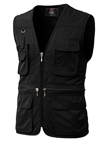 H2H Mens Casual Work Utility Hunting Travels Sports Mesh Vest with Pockets Black US L/Asia XL (KMOV0113) (Pocket Hunting)