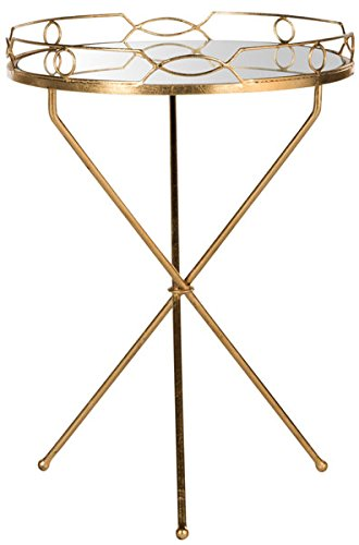 Safavieh Home Collection Cherris Mirror Top Round Gold Leaf End Table
