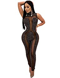 Black_3 Sleeveless With Rhinestone Mesh Jumpsuit