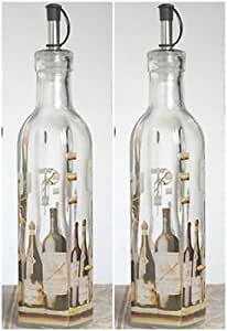 2 Europa Wine Bottle Design Glass Oil and Vinegar Cruets