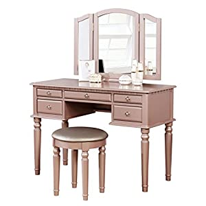 BOBKONA F4060 Croix Collection Vanity Set with Stool, Rose Gold