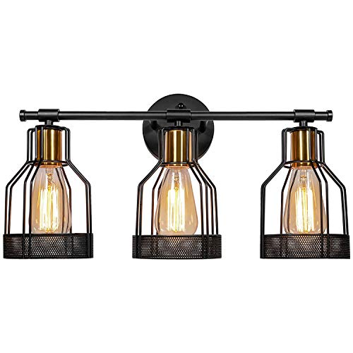 3-Light Industrial Bathroom Vanity Light Farmhouse Style Metal Cage Vintage Vanity Wall Sconce Lighting Black&Gold E26…