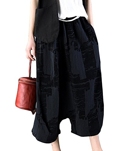 YESNO PN0 Women Casual Cropped Harem Pants Jacquard Wide Leg Drop Crotch Pocket