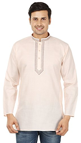 India Mens Clothing (Embroidered Cotton Mens Short Kurta Dress Shirt Indian Clothing (Beige, L))