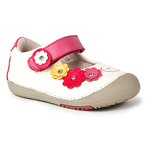 Momo Baby Girls First Walker Toddler Flower Power Mary Jane Leather Shoes - White 6.5