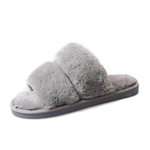 Damen Slipper VENMO Womens Flat Anti-Rutsch weiche flauschige PU Faux Pelz Flache Slipper Flip Flop Sandale Grey