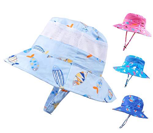 Baby Sun Hat Toddler Kids UPF 50+ UV Ray Sun Protection Wide Brim Bucket Swimwear Animal Hat (2-4 Years, Double Fish)