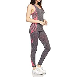 Womens Active 2 Piece Yoga Set Activewear Outfit - Tank Top and Pants Leggings (One Size Fits All, Pink - Tank and Leggings)