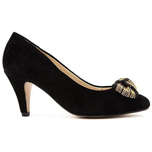 Van Dal Olmo Mujeres Negro Zapatos De Ante Tribunal Ante Negro